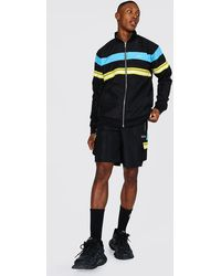 BoohooMAN - Man Shell Funnel Neck Tape Short Tracksuit - Lyst
