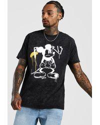 BoohooMAN Disney Mickey Loose Fit Graffiti Acid Wash T-shirt - Black