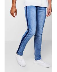 Boohoo - Skinny Fit Jeans With Washed Side Seam - Lyst