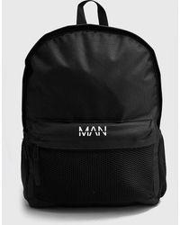 BoohooMAN Mesh Pocket Man Backpack - Black