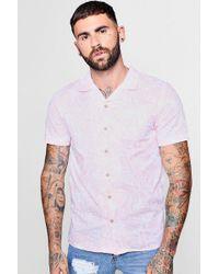Boohoo - Leaf Print Short Sleeve Revere Shirt - Lyst