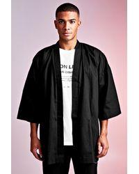 BoohooMAN Man Design 3/4 Sleeve Kimono With Belt Detail - Black