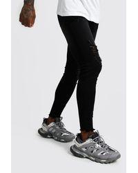 BoohooMAN Black Super Skinny Jeans With Raw Hem