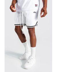 BoohooMAN Offcl Basketball Jersey-Shorts mit Streifen - Weiß