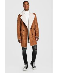 BoohooMAN Zweireihiger Longline-Mantel aus Fake-Fur - Braun