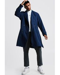 BoohooMAN Oversized Check Lined Trench Coat - Blue