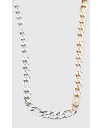 BoohooMAN Grobgliedrige zweifarbige Figaro-Halskette - Mettallic