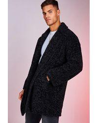 BoohooMAN Oversized Luxe Faux Fur Overcoat - Black