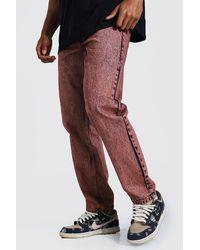 BoohooMAN Relaxed Fit Jeans in Batik-Optik - Braun
