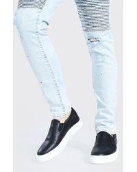 BoohooMAN Smarte Slip-On Sneaker im Leder-Look - Schwarz