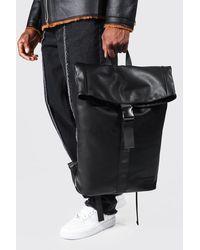 BoohooMAN Leather Look Roll Top Rucksack - Black