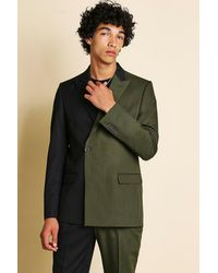 BoohooMAN Man Skinny Spliced Double Breasted Suit Jacket - Green