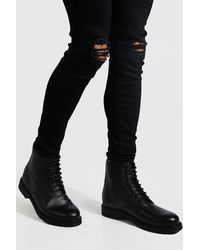 BoohooMAN Leather Look Lace Up Boot - Black