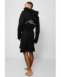 Boohoo - Jersey Fleece Hooded Robe With Man Embroidery - Lyst