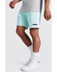 BoohooMAN Regular Man Jersey-Shorts mit Streifen - Blau