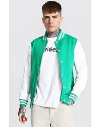 BoohooMAN Jersey Varsity Bomber Jacket With Sports Rib - Grün
