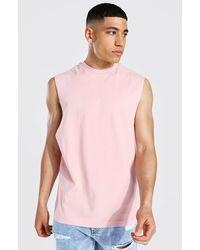 BoohooMAN Man Signature Neck Branded vest - Pink