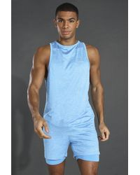 BoohooMAN MAN Active leichtes, meliertes Sport-vesttop - Blau