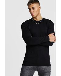 BoohooMAN - Muscle Fit Long Sleeve T-shirt - Lyst