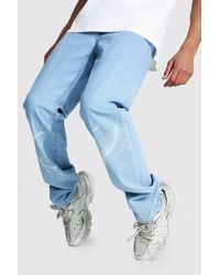 BoohooMAN Tall Relaxed Fit Lightning Print Jean - Blue