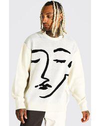 BoohooMAN Oversize Pullover mit Linen-Gesicht - Natur
