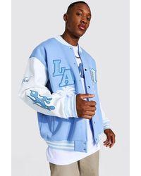 BoohooMAN La Badge Jersey Varsity Bomber Jacket - Blue