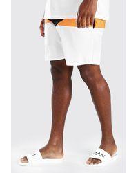 BoohooMAN Big And Tall Mid Length Colour Block Trunks - Black