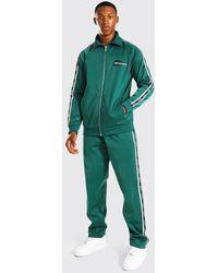BoohooMAN Trikot-Trainingsanzug mit Reißverschluss und Streifen - Grün