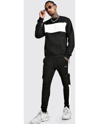BoohooMAN Skinny Fit Contrast Chest Panel Pocket Tracksuit - Black