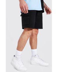 BoohooMAN Basic Mid Length Cargo Jersey Short - Black