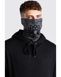 BoohooMAN Bandana Print Jersey Snood - Black