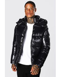 BoohooMAN Recycled High Shine Panel Puffer Jacket - Black