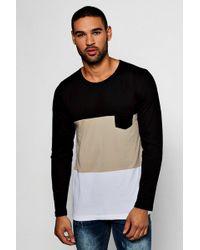 Boohoo - Long Sleeve Colour Block T-shirt - Lyst