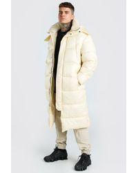 BoohooMAN Handgefüllte wattierte Longline-Jacken mit mattem Finish - Natur