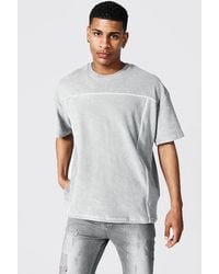 BoohooMAN Oversized Towelling Piping T-shirt - Gray