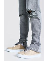 BoohooMAN Suede Lace Up Trainer - Grey