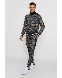 Boohoo - Baroque Print Funnel Neck Skinny Fit Tracksuit - Lyst