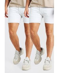 BoohooMAN 2er-Pack Skinny-Fit Chino-Shorts - Weiß