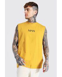 BoohooMAN Original Man Oversize vesttop mit weiten Ärmeln - Gelb