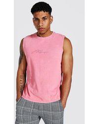 BoohooMAN Man Signature überfärbtes Trägershirt - Pink