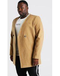 BoohooMAN Big & Tall Eleganter, kragenloser Mantel mit 2 Knöpfen - Mehrfarbig