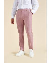 BoohooMAN Karierte Skinny Anzughose - Pink