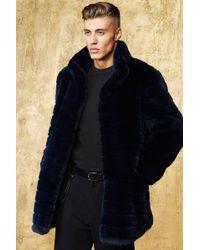 Boohoo Stripe Luxe Faux Fur Overcoat - Blue