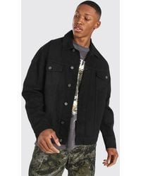 BoohooMAN Oversized Denim Jacket - Black