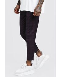 BoohooMAN - Plum Check Smart Jogger Trousers - Lyst