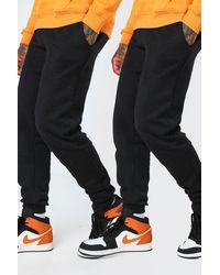 BoohooMAN 2 Pack Loose Fit Basic Joggers - Black