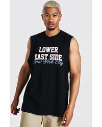 BoohooMAN T-shirt sans manches oversize NYC - Noir