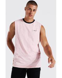 BoohooMAN Man Signature Ringer-vesttop - Pink