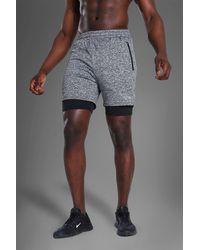 BoohooMAN Man Active Gym Lightweight Marl 2-in-1 Short - Black