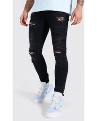 BoohooMAN Super Skinny Biker-Jeans mit Rissen - Schwarz